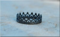 Black Princess Crown Ring Oxidized Sterling Silver Stacking