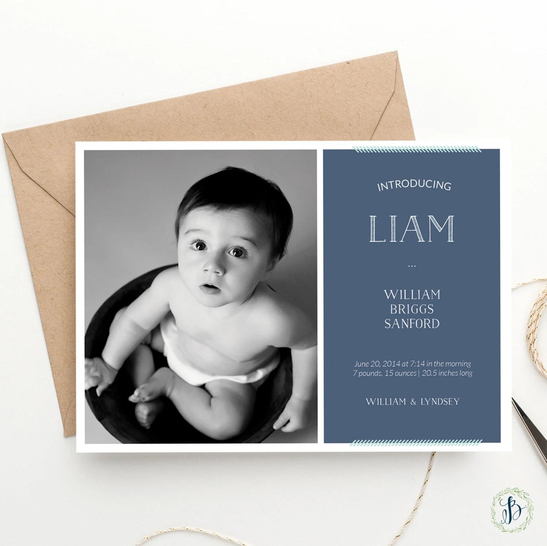 Modern Type Custom Photo Birth Announcements - Printed Announcements