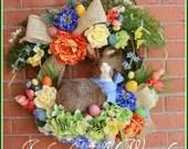 SALE Easter Bunny Wreath,...
