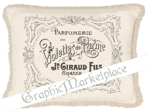French Violet Label Perfume Instant Download Transfer Fabric Linen
