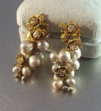 Vintage Miriam Haskell Earrings Baroque Pearl Rhinestone