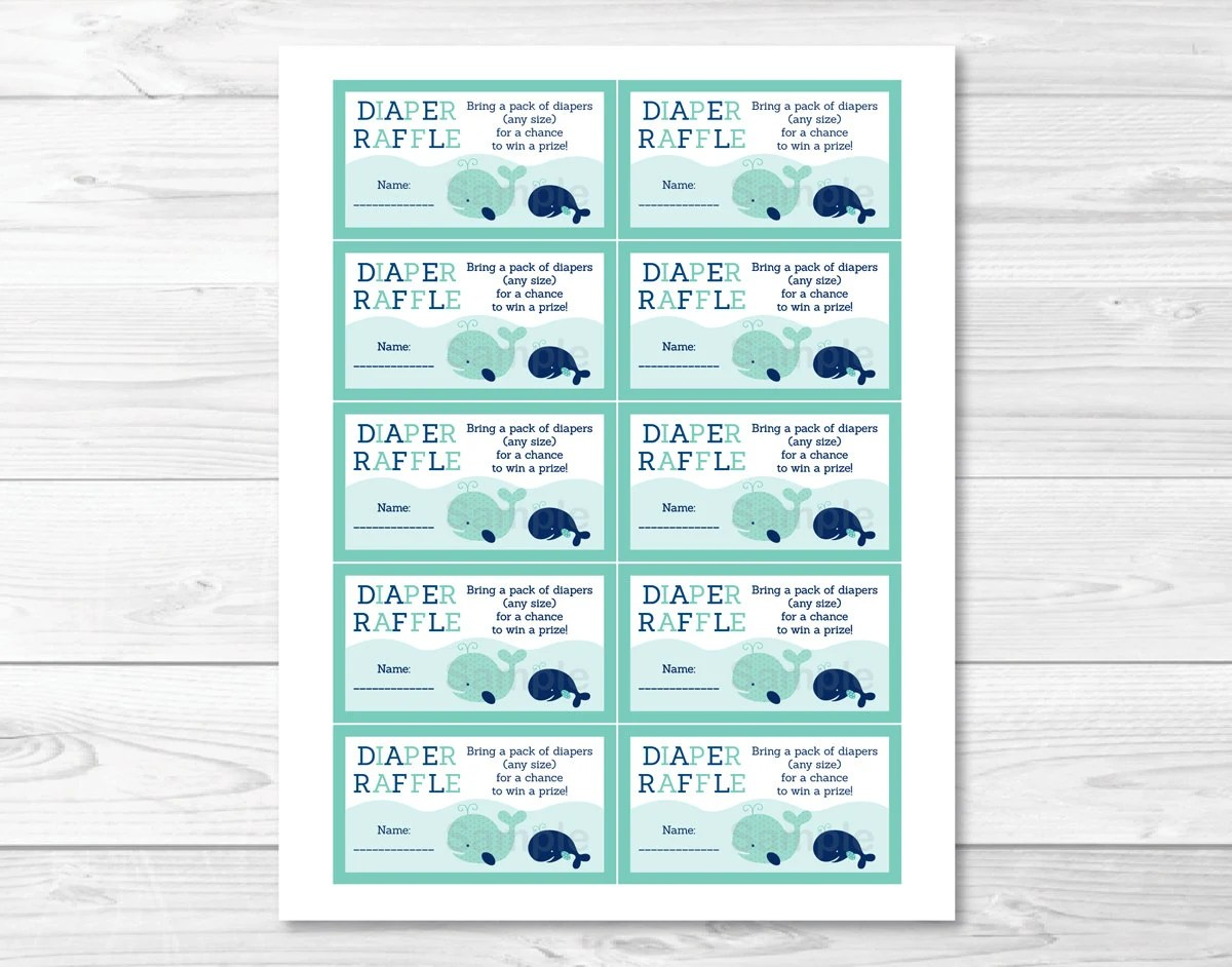 Whale Diaper Raffle Tickets / Whale Baby Shower / Baby Shower Raffle