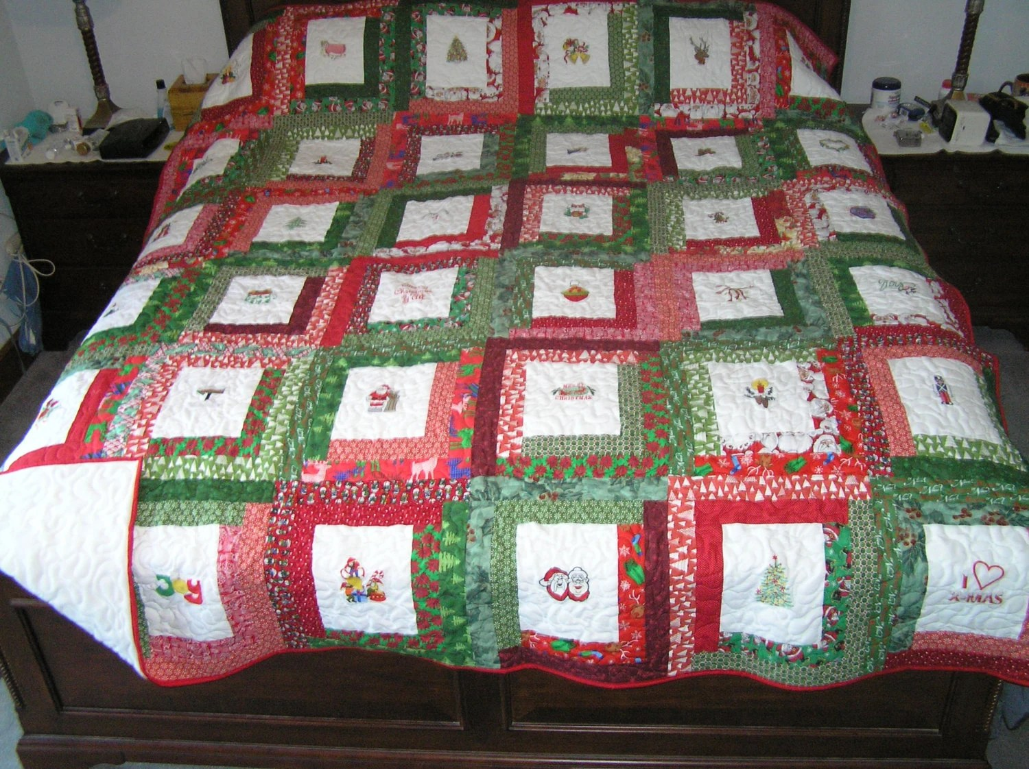 King Quilt Size King Size Embroidered Christmas Quilt