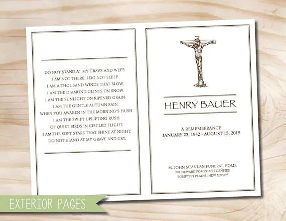 Rustic Cross Crucifix Funeral or Memorial Program Bulletin - invitation for funeral ceremony