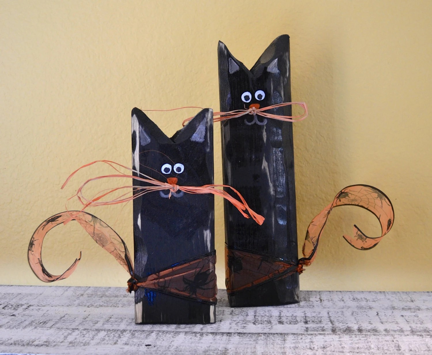 Black Cat Decorations Primitive Halloween Black Cats Wooden Shelf Sitter By