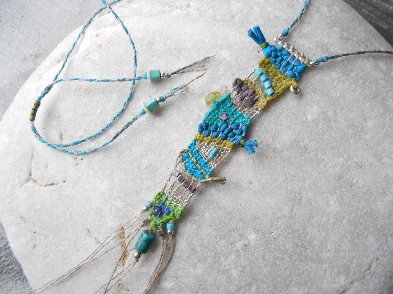 Sea Colors Hand Woven Mini Tapestry Necklace Linen Silk