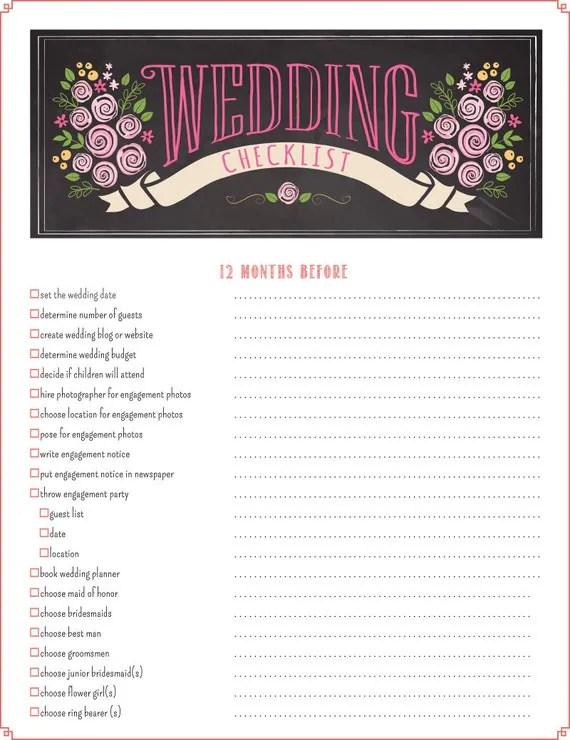Printable Wedding Checklist Planner - wedding list