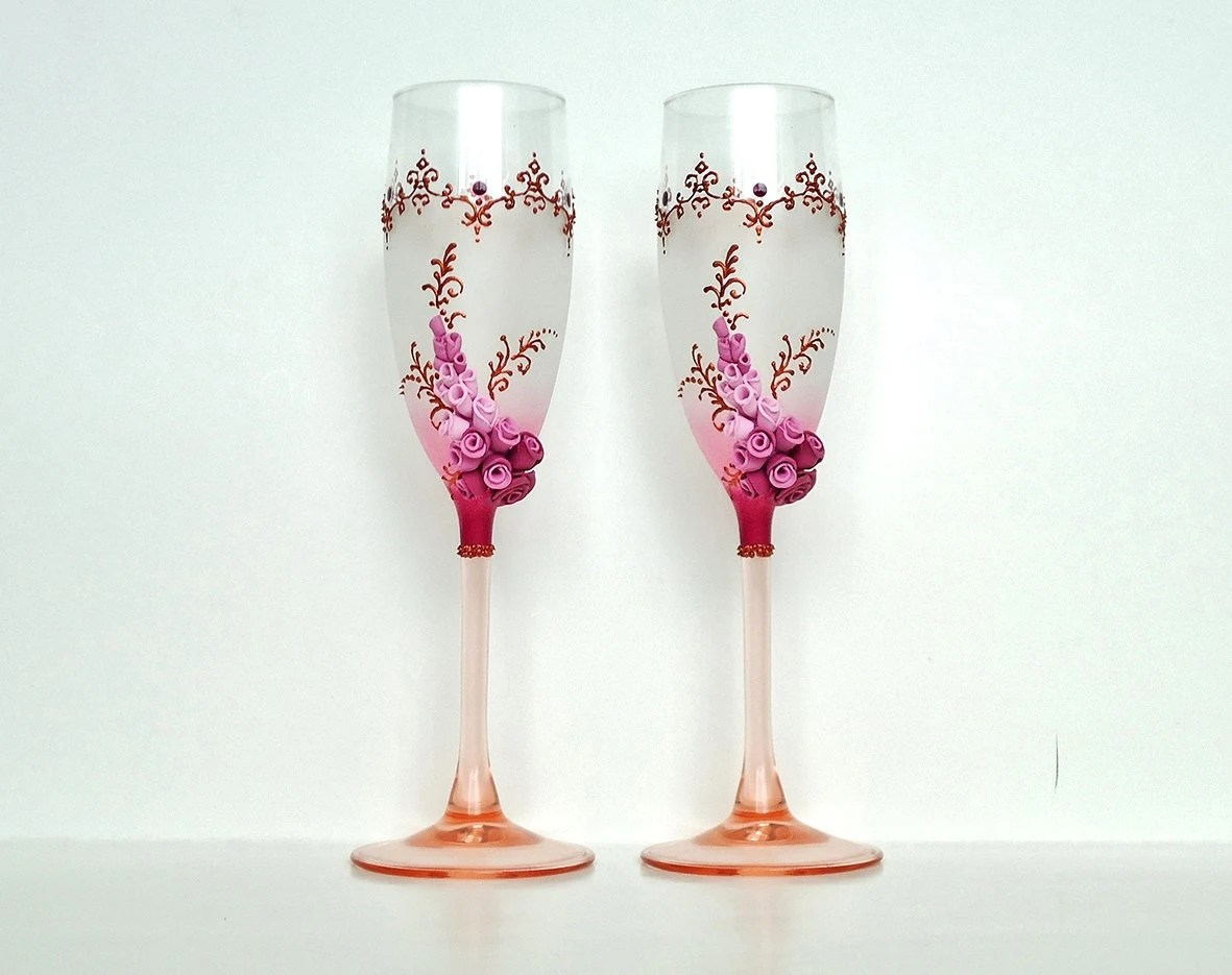Decoration Coupe De Champagne Bordeaux Wedding Champagne Glasses Toasting Flutes Roses