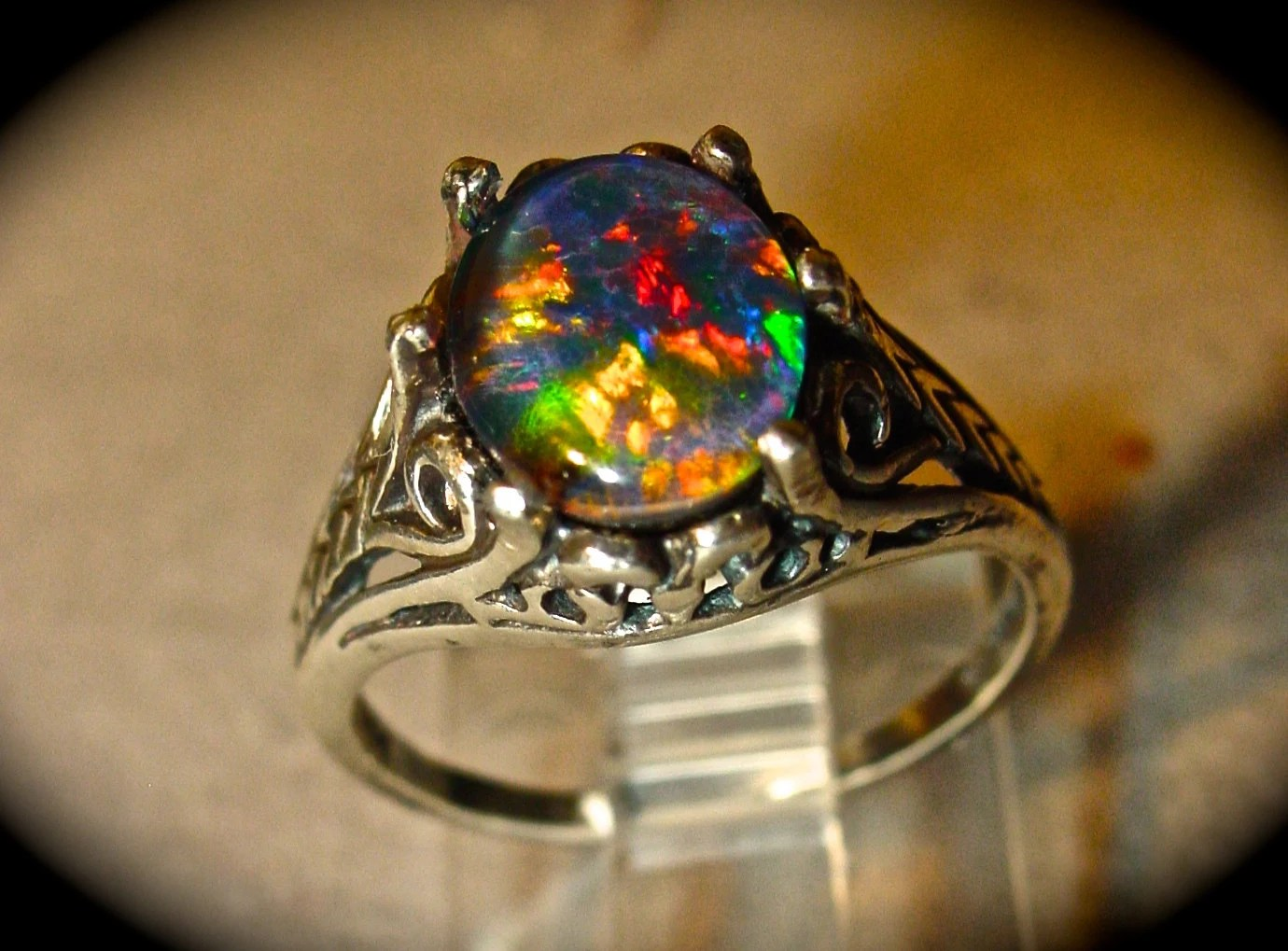 real black opal ring opal wedding ring sets Antique Filigree style Opal Engagement Ring Spectacular Australian Opal Triplet or Solid White or Black opal Gold or Silver ITEM A95
