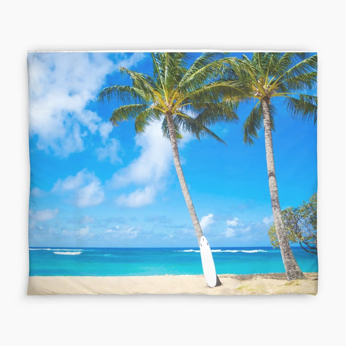 Parure De Couette 240x260 Palm Duvet Cover With Palm Tree And Surfboard In Hawaii Water