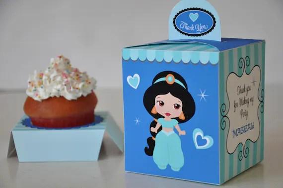 Princess Party pdf printable cupcake box / favor box featuring