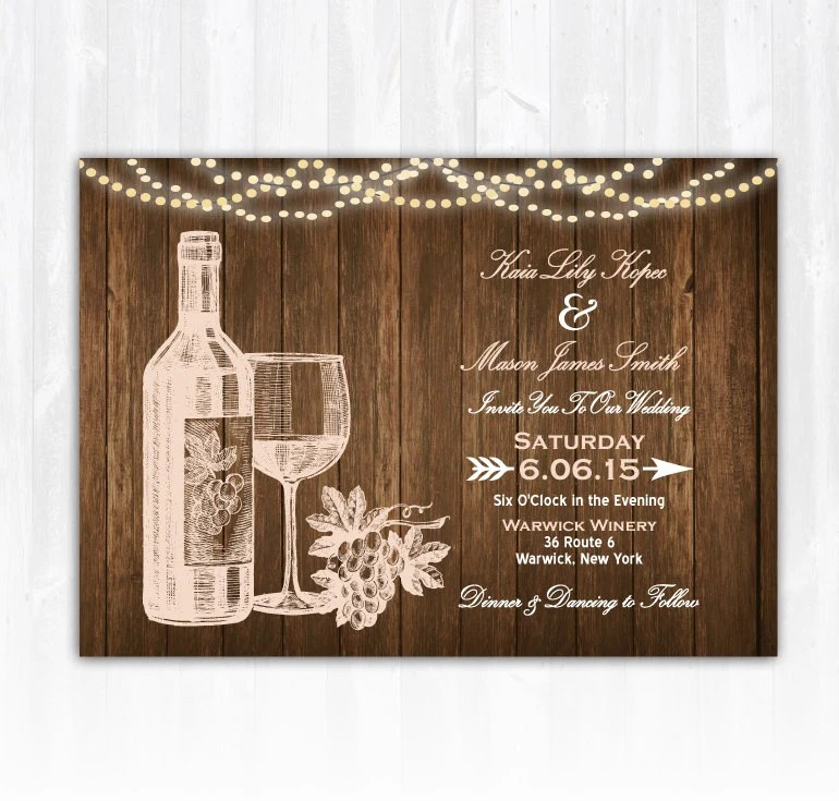 Wine Wedding Invitation Diy Printable Digital File Or Print