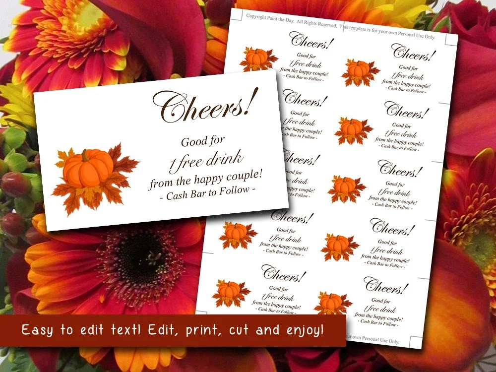 Wedding Drink Card Ticket Template Wedding Drink Ticket Autumn - print your own tickets template free