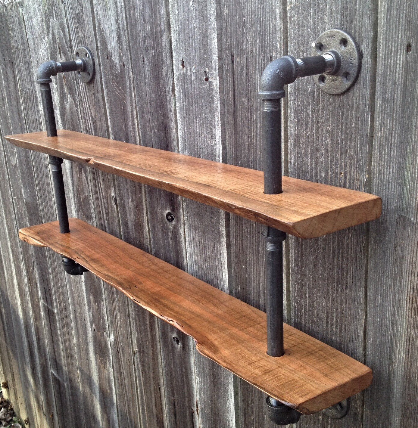 Steampunk Wall Shelves Living Edge Double Bookshelf Reclaimed Wood Industrial