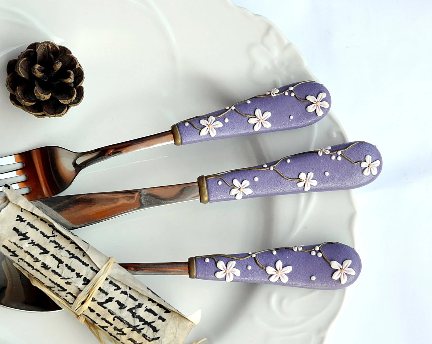 Elegant Flatware Sets Purple Cutlery Sets Unique Flatware Elegant Wedding Gift Spoon