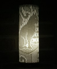 Accent Lamp vintage cat lace curtain fabric recycled table