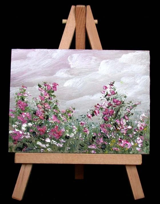 Pinturas Abstractas Para Dormitorios Garden Flowers Miniature Oil Painting 20 Orriginal 3x4