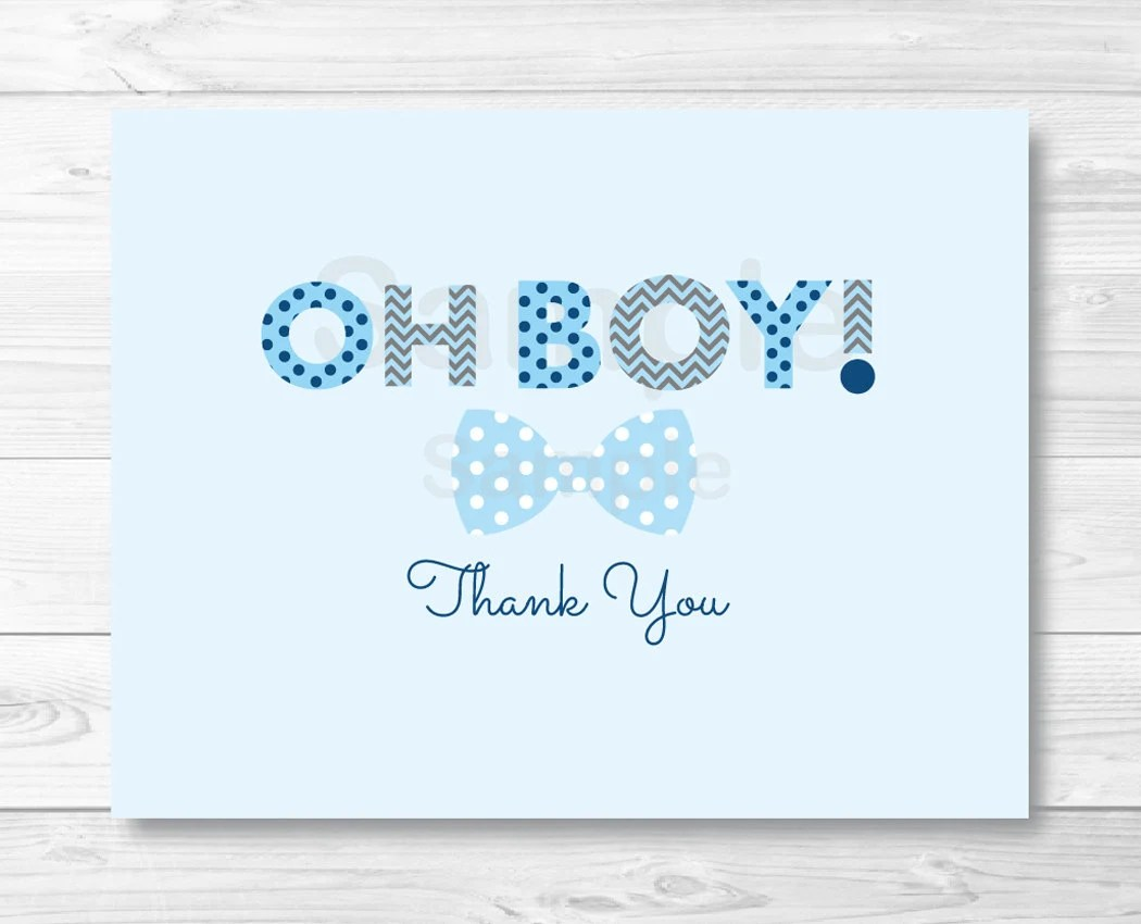 Oh Boy Bow Tie Folded Thank You Card Template / Little Man Baby