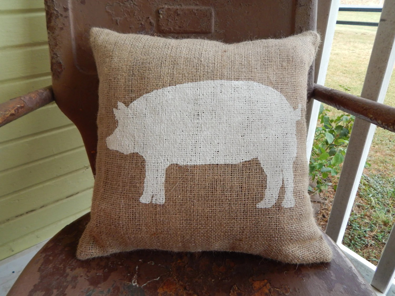 Painted Burlap Pig Decorative Throw Pillow Square Farmhouse