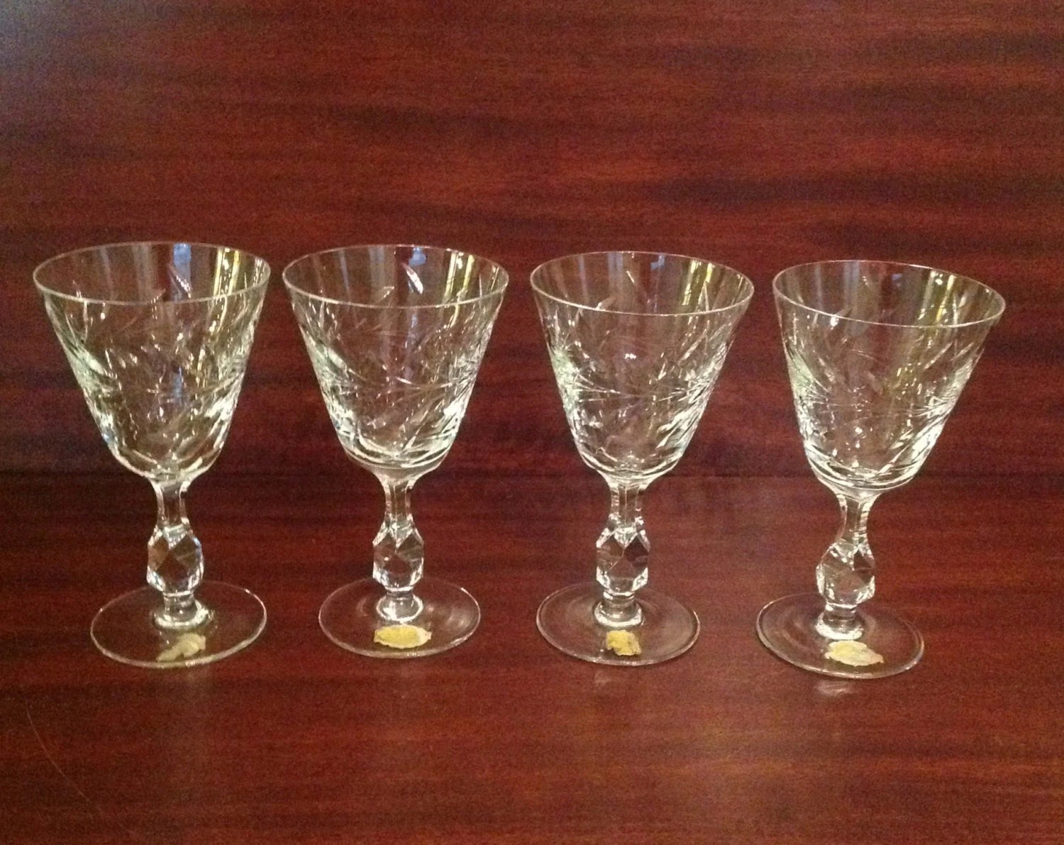 Crystal Stemware Wine Glasses Lead Crystal Cut Glass Wine Glasses Goblets Stemware Set Of 4