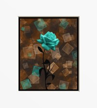 Turquoise Brown Floral Wall Art by LittlePiePhotoArt on Etsy