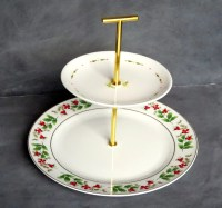 Christmas Cake Stand Tiered Dessert Plate 2 Tiers