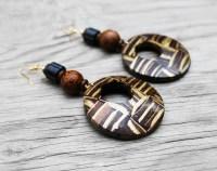 Coconut Shell Earrings Coconut Wood Earrings African