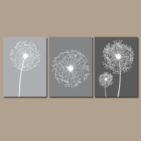 DANDELION Wall Art Gray Bedroom Pictures CANVAS or by ...