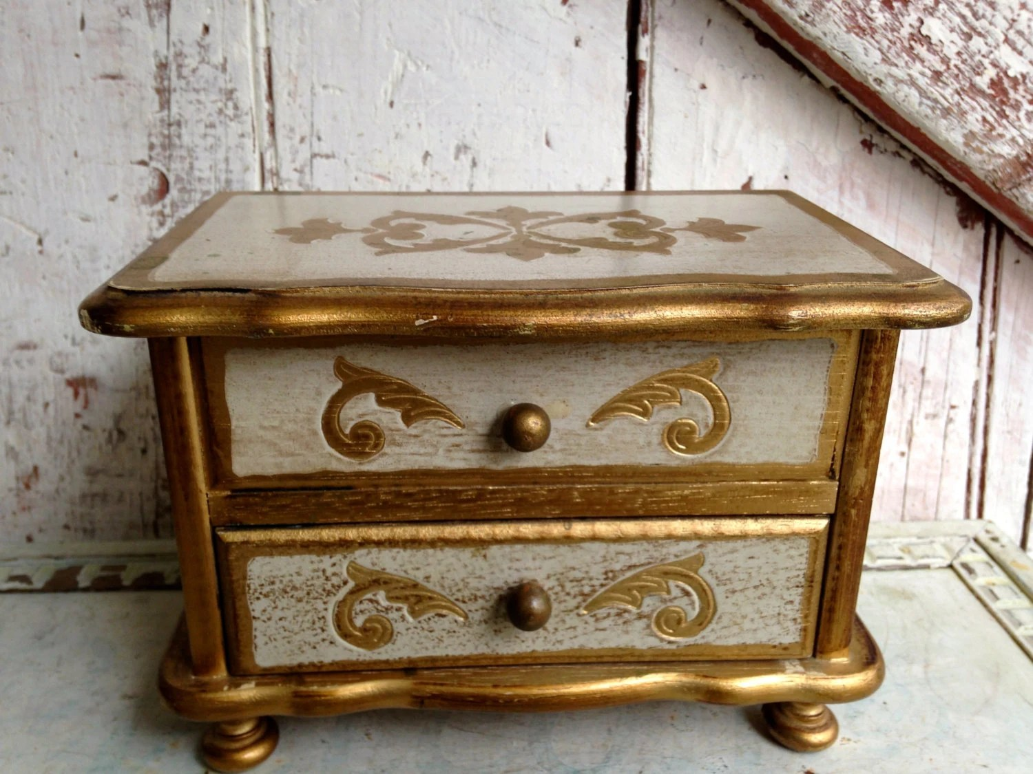 Vintage Style Jewellery Box Vintage Jewelry Box Chest Florentine Style Gold Gilt And