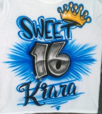 Items similar to Airbrushed Sweet 16 Design Custom T-shirt ...