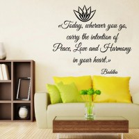 Lotus Wall Decals Buddha Life Quotes Peace Love Harmony In