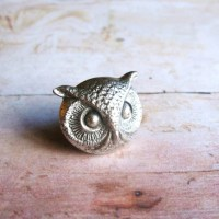 Mr Owl Antiqued Silver Plated Owl Brooch Lapel Pin or Tie