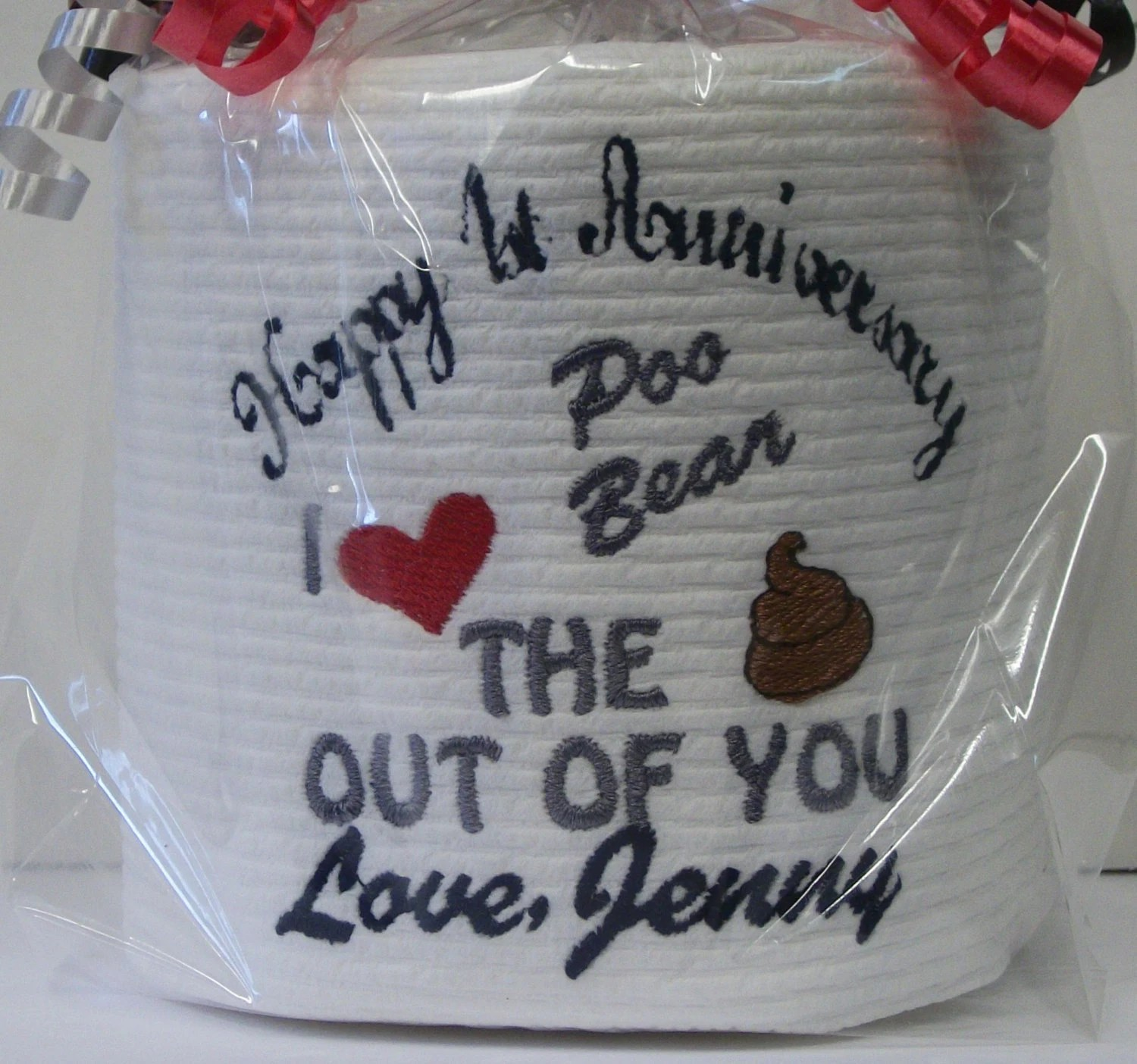 Custom Made Toilet Paper Custom Made Embroidered 1st Anniversary Toilet Paper