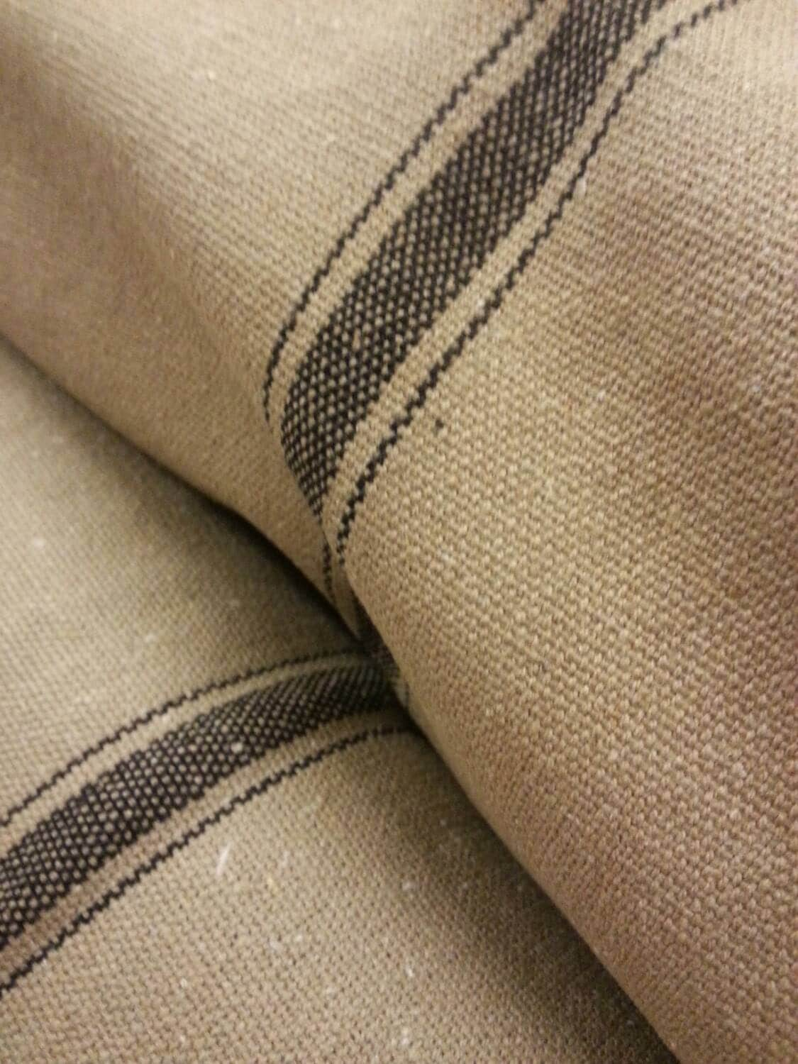 Flour Sack Fabric By The Yard Grain Sack Fabric Farmhouse Fabric Tan Fabric Black 3
