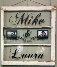 Vintage Window Three Pane Picture Frames Personalized with