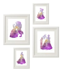 Items similar to Disney Princess silhouette Wall Art, Girl ...