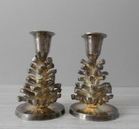 pair of silver pine cone candle holders / taper by simplychi