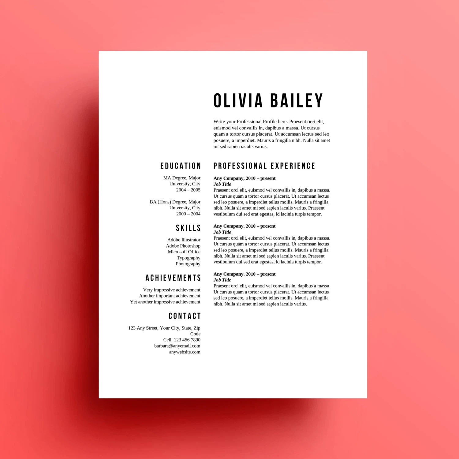 Resume Template Cover Letter instant download - download resume template
