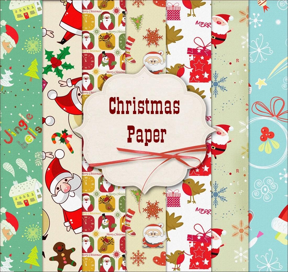 Christmas Digital Paper Backgrounds Scrapbook Santa Xmas Papers