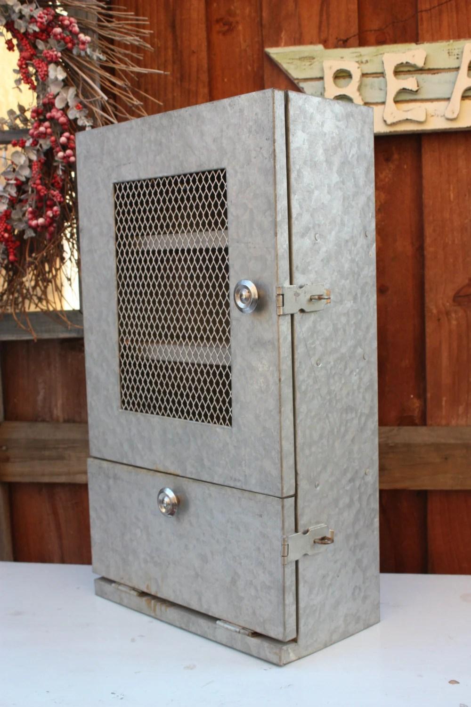 Vintage Galvanized Steel Shelving Cabinet Metal Shelving