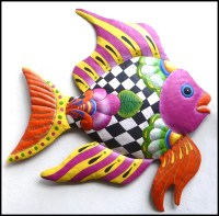 Tropical Fish Metal Wall Art Outdoor Metal Art Hand Painted
