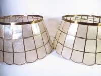 Pair of Vintage Capiz Shell Lamp Shades Capiz Shell Brass