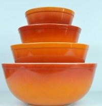 Vintage Pyrex Flameglo Mixing Bowl Set