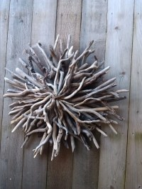 Driftwood Sunburst Outdoor Beach Garden Driftwood Art Wall