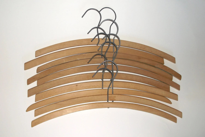 10 Vintage Plain Simple Wooden Clothes Hangers
