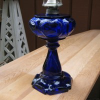 Cobalt Blue Hurricane Lamp with Heart Pattern Sweetheart