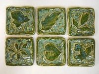 Handmade Ceramic Tiles Decorative Leaf Patterns Deep Sea