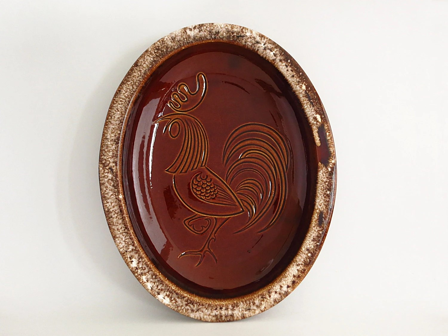 Oval Mirror Long Vintage Hull Pottery Rooster Platter Or Serving Bowl Brown