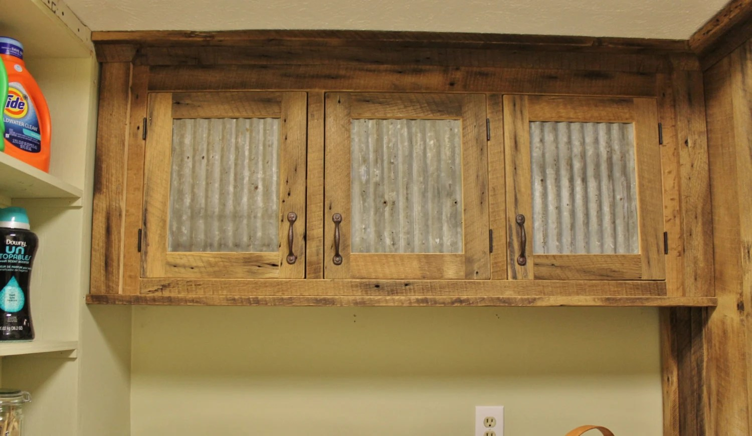 Barn Board Kitchen Cabinets Rustic Upper Cabinet Reclaimed Barn Wood W Tin Doors