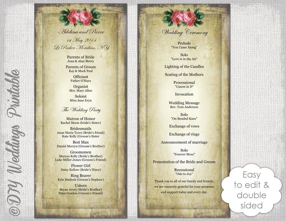Vintage Wedding Program Templates - Costumepartyrun - wedding program inclusions